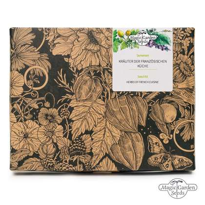 'Herbs of French cuisine' seed kit gift box with 5 traditional culinary herb varieties that should always be fresh available