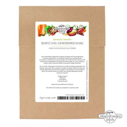 Seed kit: 'Mixed colour ground chilli powder', 4 aromatic and colourful chilli pepper varieties